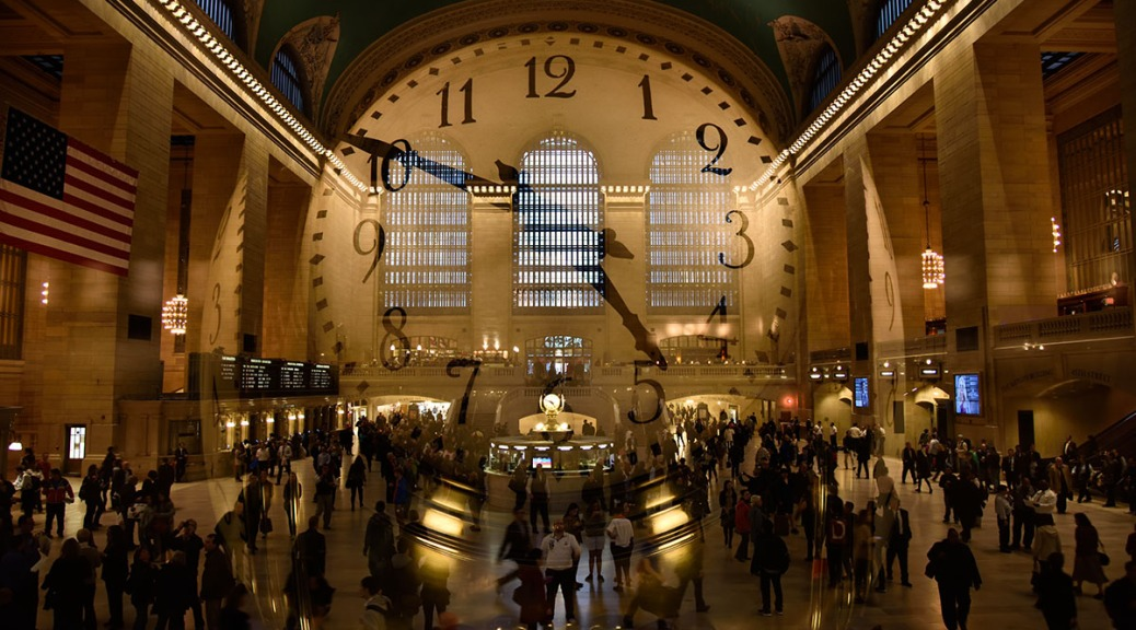Double exposure of hall and clock of Grand Central Station