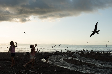 Unedited image of kids feeding fish scraps to seabirds in Tarcoles, Costa Rica.