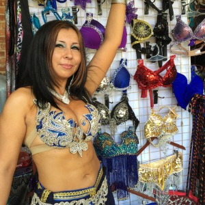 Photo of saleswoman with her accessories for sale