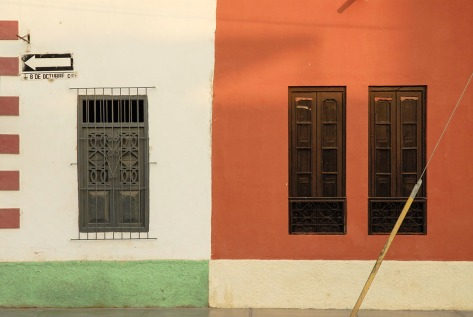 Colorful wall in Lambayeque Peru.