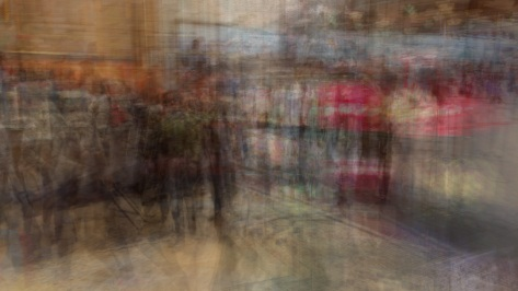 Multiple exposure of People shopping or getting a snack. Photo by Eduardo Libby.
