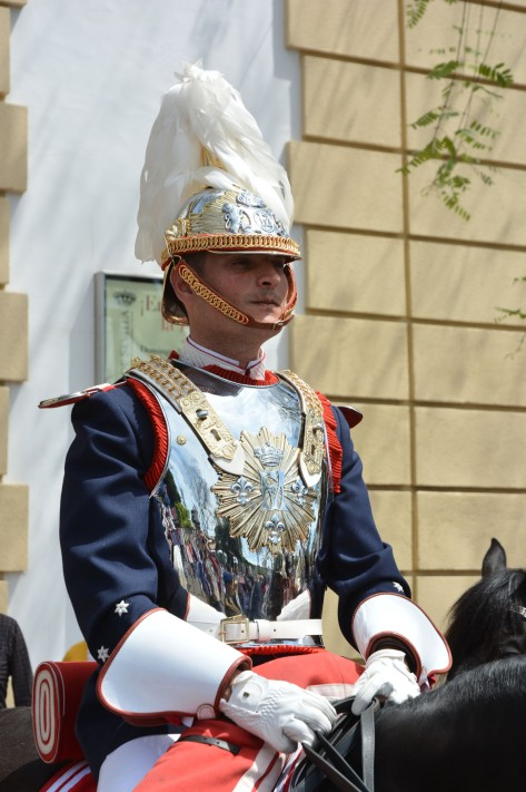 Image of a military officer in ceremonial attire in Seville, Spain. Photo by Eduardo Libby