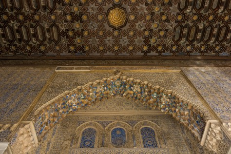 Photo of a decoratedceiling at the Alcázar of Seville