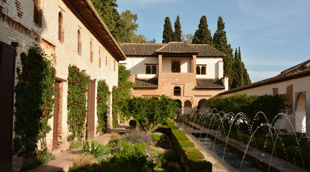 Image of water fountains in the gardens of the Alhambra. Photo by Eduardo Libby