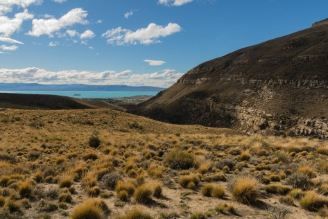 View of the Patagonian Steppe and azure-colored Lake Argentino. Photo by Eduardo Libby
