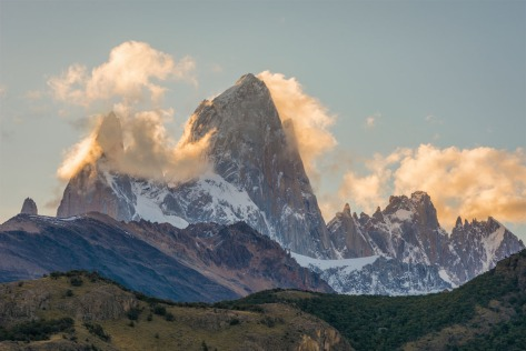 The eastern face of Mount FitzRoy at sunset. Photo by Eduardo Libby