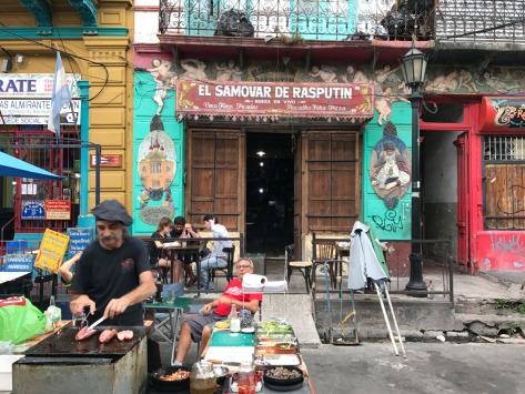 Choripan vendor. Caminito street, La Boca neighborhood. Buenos Aires, Argentina. Photo by Eduardo Libby