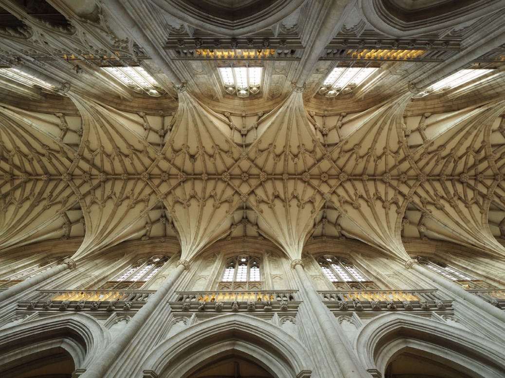 Nave of Winchester Cathedral seen from below. Photo by Eduardo Libby