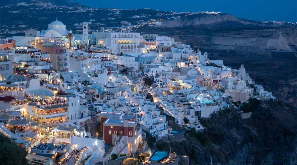 View of Fira, Santorini at Twilight. Photo by Eduardo Libby