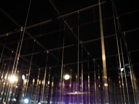 Nylon lines holding the Migrants art installation. Photo by Eduardo Libby