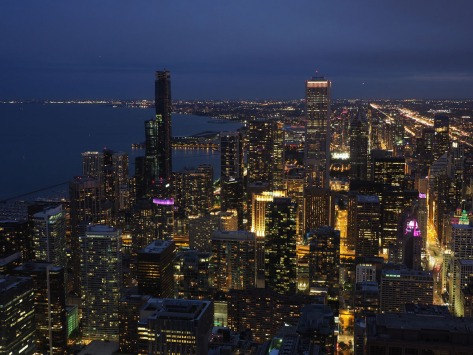 Chicago at night seen from the John Hancock Center. Photo by Eduardo Libby